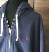 POLO RALPH LAUREN HEAVY COTTON NAVY ZIP FRONT HOODIE SIZE XXL