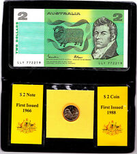 Australia 1988 Last 2 Dollar Note & First $2 Coin Set Nice