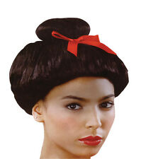 JAPANESE #GEISHA WIG WITH RED BOW ORIENTAL STYLE FANCY DRESS COSTUME ACCESSORY