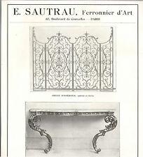 PARIS COURCELLES SAUTRAU FERRONNIER D' ART FER FORGE ART NOUVEAU PUBLICITE 1916