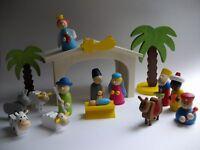 Miniaturfigur Krippe mit Kind farbig lasiert Höhe ca 2cm NEU Erzgebirge