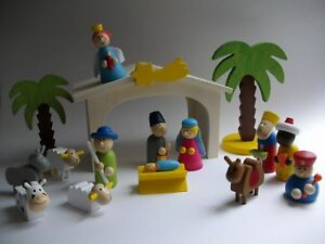 KRIPPE Holz 16 tlg WEIhNaCHtSKRiPpE Kinderkrippe Spielkrippe Weihnachten Kinder