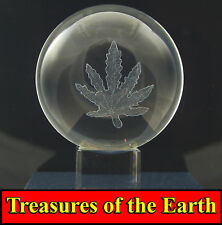 80mm Marijuana/ Cannabis Leaf Laser Etched Crystal Ball