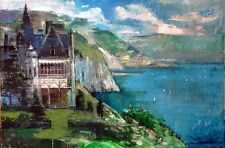 """Chateau on Amalfi Coast"" by ALEX ZWARENSTEIN! Hand Signed Original Oil Painting"