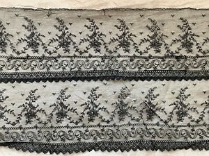 French Victorian double row Chantilly lace edging,165 by 23cm or 330cm by 11.5cm
