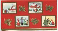 VINTAGE CHRISTMAS GOLD EMBOSSED VICTORIAN PICTURE SCENES FRAME GREETING ART CARD
