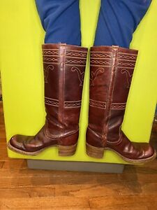 Vintage Rare Retro Frye Maroon campus boots Size 8 b Leather Western Women's