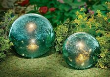 Set of 2 Unique Lighted Twinkling Gazing Globe Balls Garden Statues