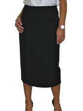 Midi Length Lined Pencil Skirt Office Day Evening Black NEW 10-22