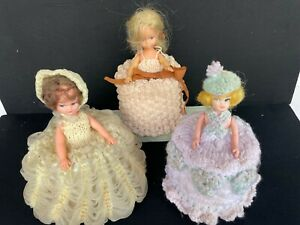 3 Small Vintage DOLLS Toilet Roll Covers Hong Kong