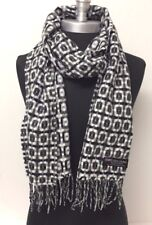 Women's  100% CASHMERE SCARF MADE IN SCOTLAND Plaid Grays/Black/White SOFT NEW