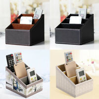 Leather Phone TV Remote Control Storage Box Home Desk Office Organizer Holder