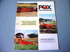 Fox Forage Harvester Brochure from 1956