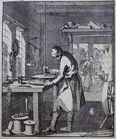 1704 Jan Luyken - GOLD WORKER - antique copper engraving