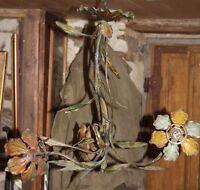 ancien lustre Italien Vintage tole fleurs feuilles metal peint
