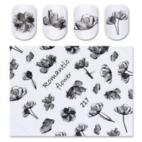 Fashion Ink Painting Flower 3D Nail Art Transfer Decals Manicure Tips Sticker