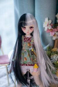 Black White Braid Monokuma Cosplay Hair Wig For 1/3 1/4 1/6 BJD Doll Limit Sa