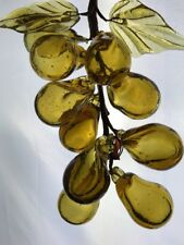 Vintage Amber Grape Clusters Mid Century Hand Blown Italian Art Glass