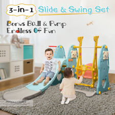3-IN-1 Kids Toddler Slide Swing Play Toy Activity Centre Basketball Hoop Blue