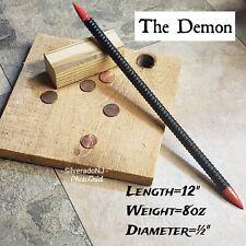 """THE DEMON"" RAZOR SHARP BLACK STEEL NINJA DOUBLE SPEAR TIP THROWING  TORPEDO"
