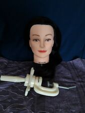 Hairdressing Practice Head with long hair & Clamp.