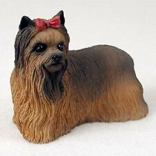 YORKIE FIGURINE dog HANDPAINTED COLLECTIBLE Resin Statue Yorkshire Terrier w/bow