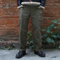 Bronson Vintage WW2 HBT M-42 Fatigue Trousers US Army Military Men's Pants Loose