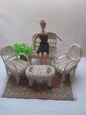 Rattan white living room for Barbie,Fashion Royalty,Poppy Parker or similar
