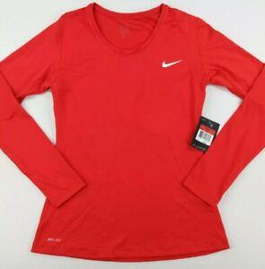 Nike Womens Pro Cool Training Shirt DriFit Long Sleeve Red Size Large