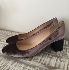 NEW J.CREW LUCITE HEELS IN VELVET SIZE 11M ASH BROWN F6137 $268