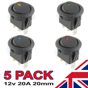 5 LED Illuminated Round Rocker Switch Car light ON/OFF 12v Red Blue Green Amber