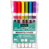 DecoArt Glass Paint Markers Set Bright Colors DGPMK71 NEW
