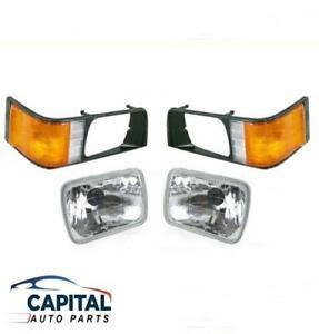 Pair Black Rim Case Headlights Corner Lights Mitsubishi L300 Express SF-SJ 86-00