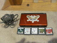 Nintendo DS Lite CRIMSON RED Bundle 5 Games Home  Charger TESTED WORKING