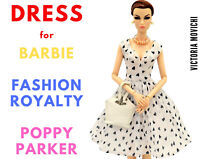 White Chiffon Dress for Fashion Royalty, Barbie, Poppy Parker 12 inch dolls