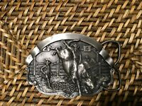 Pewter Rodeo Belt Buckle 1981 Bergamot Brass Works
