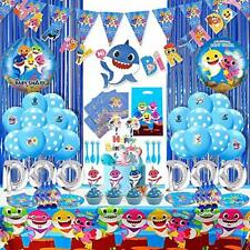 Set of 250 Pcs Shark Party Supplies Set,Shark Baby Birthday Decoration