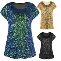 Women Sequin Top Shimmer Glitter Loose Short Sleeve Party Tunic Shirt Blouse US
