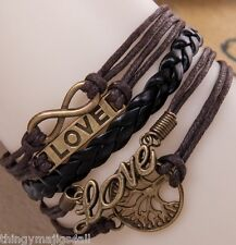 Tree of Life Bracelet Bracelet Charme Bracelet TRESSE marron Love Cuir A58