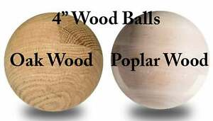 "4"" Maple Poplar Oak Large Wooden Balls Game Craft Wood Ball Solar System Art"