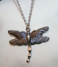 Pendant Necklace + Delightful Textured Silvertone Dragonfly