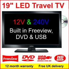 """19"""" 12V Ultra Slim LED TV with DVD & USB. 12 VOLT, Motorhome Caravan Boat Marine"""