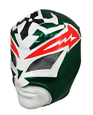 CRAZY MAN (pro-fit) Lucha Libre Wrestling Mask Halloween Costume - Green/Whi/Red