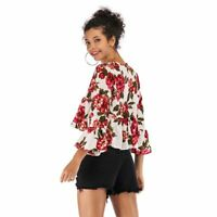 V neck Women boho floral casual summer chiffon blouse loose t shirt shirt tops
