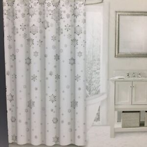 Envogue Ornate Snowflake Shower Curtain Silver Shimmer Snow Christmas Holiday