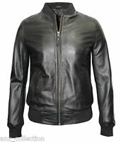 70'S Retro Bomber Men's Black Cool Classic Soft Italian Nappa Leather Jacket