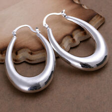 NEW 925 Sterling Silver Plated Fashion Hollow U Simple Earrings