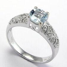 Aquamarine and Diamond Engagement Ring 18k White Gold Free Worldwide Shipping