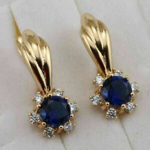 3Ct Round Cut Blue Sapphire Gorgeous Huggie Hoop Earrings 14K Yellow Gold Finish