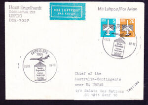 East Germany cover 1989 Leipzig to HQ UNTAG slogan Herbstmesse Airmail